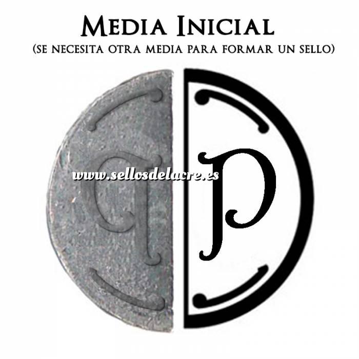 Imagen 2 Iniciales Intercambiables Placa Media Inicial P para sello vacío de lacre