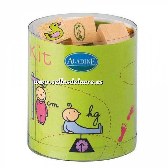 Imagen Kits 15 sellos Sellos bautizo 2. Incluye 15 diseños y 1 tampón negro (Descatalogado) (ultimas uds) (Últimas Unidades)