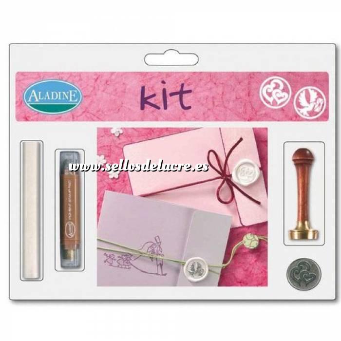 Imagen Kits de sellos de lacre KIT LACRE BODA DOBLE CORAZÓN ESPIRAL/PALOMA