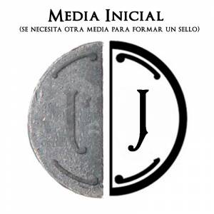 2 Iniciales Intercambiables - Placa Media Inicial J para sello vacío de lacre