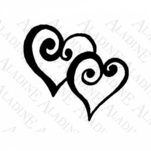 Amor y Boda - SELLO CAUCHO DOS CORAZONES EN ESPIRAL (Últimas Unidades)