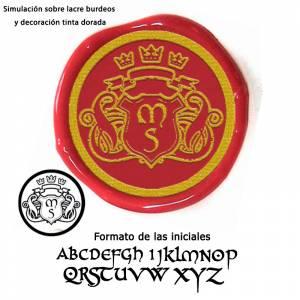 Con NUESTRO diseño - Sello Lacre 3 cms. Escudo con iniciales