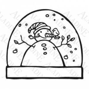 Diseños inmediatos - Sello de Caucho - Bola Navideña con un muñeco de nieve (01350) (Últimas Unidades)
